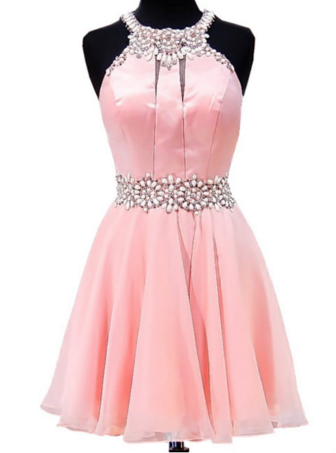Adorable A-line Beaded Crystals Junior Chiffon Party 8th Grade Prom Dresses
