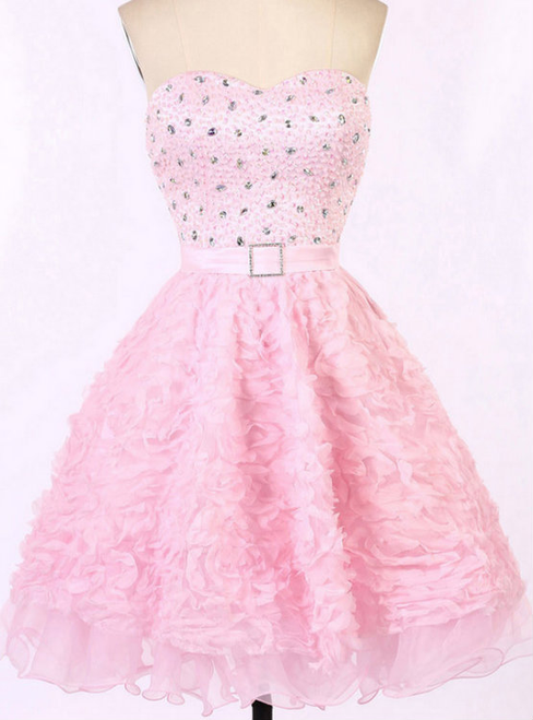 Cute Charming Pink Prom Dress with a Sash Sweetheart Homecoming Dresses with Allover Beaded Bodice