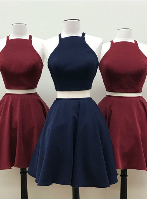 Burgundy Short Two Piece Homecoming Dress Two Piece Short Navy Blue Homecoming Dress