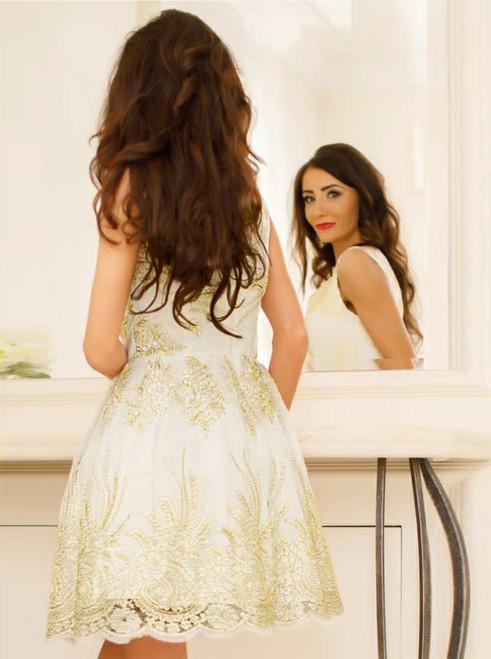 Elegant Homecoming Dresses A-line Homecoming Dresses Golden Applique Homecoming Dresses