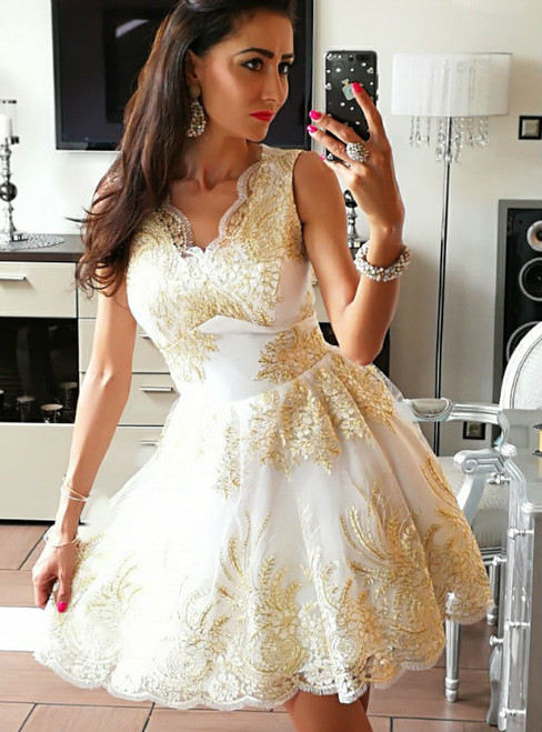 Elegant Homecoming Dresses A-line Homecoming Dresses Golden Applique Homecoming Dresses