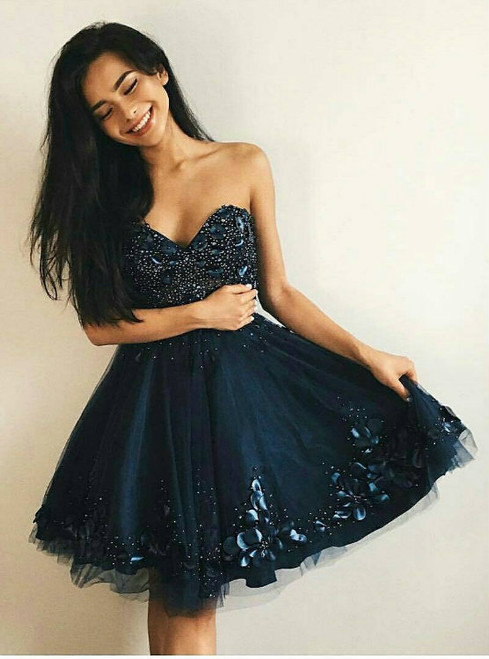 Fairy Tale Dark Navy Blue Tulle Beaded Sweetheart Homecoming Dress with 3D Floral Appliques