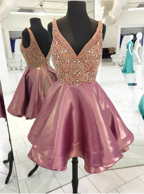 Crystal Beaded V Neck Satin Homecoming Dresses Short Prom Gowns 2017