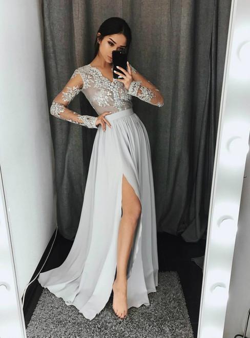 Long Sleeves Side-Slit Formal Evening Dress with V-Neckline