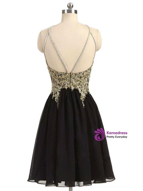 Black Chiffon Homecoming Dress,Gold Beading Lace Halter Graduation Dress