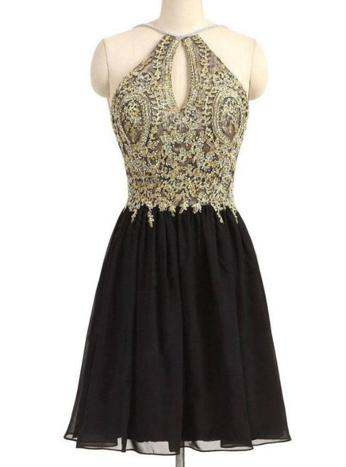 Black Chiffon Homecoming Dress,Gold Beading Lace Halter Graduation Dress