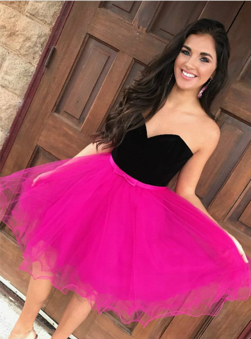 Fancy A Line Sweetheart Short Tulle Homecoming Dresses With Black Top