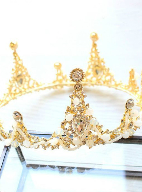 Fabulous Bridal Jewelry 2017 Gold White Crystal Rhinestone Metal Tiara