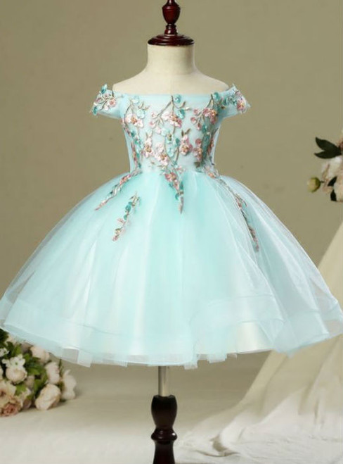Pretty Beautiful Hall Wedding Party Dresses 2017 Flower Girl Dresses Sky Blue