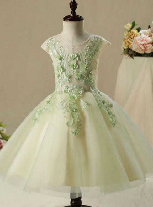 Wedding Party Dresses 2017 Flower Girl Dresses Lace Appliques Flower Pearl
