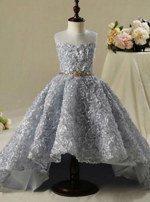 Fashion Scoop Neck Sleeveless  2017 Flower Girl Dresses Silver Ball Gown