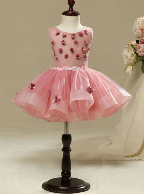Simple 2017 Flower Girl Dresses Candy Pink  Beautiful Hall Wedding Party Dresses