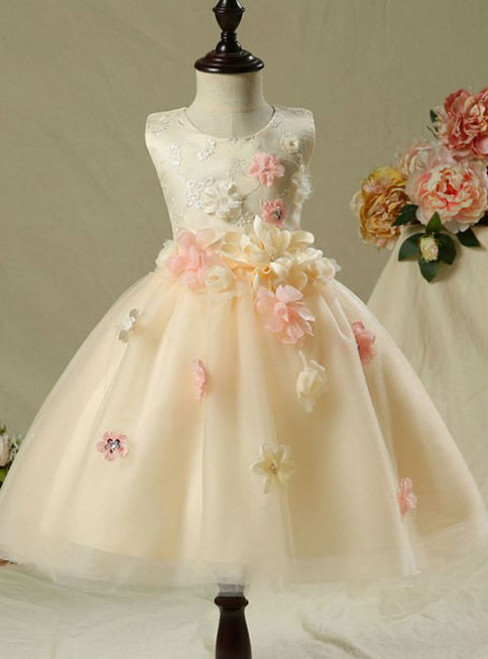 Cute 2017 Flower Girl Dresses Champagne Knee-Length Ball Gown  Flowers Appliques Pearl Sequins