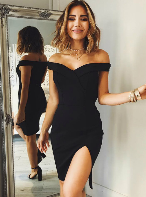 Short Off-the-Shoulder Homecoming Dress with Side Slit