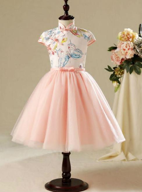 Gorgeous 2017 Flower Girl Dresses Pearl Pink Knee-Length  Short Sleeve Butterfly Printing