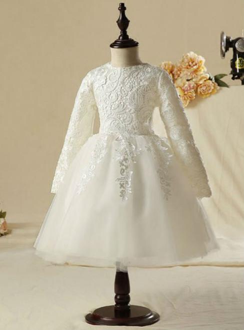 Stylish 2017 Flower Girl Dresses White Knee-Length Ball Gown Simple