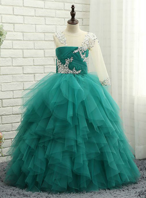 Dreamy Wedding Party Dresses 2017 Flower Girl Dresses Jade Green Ball Gown