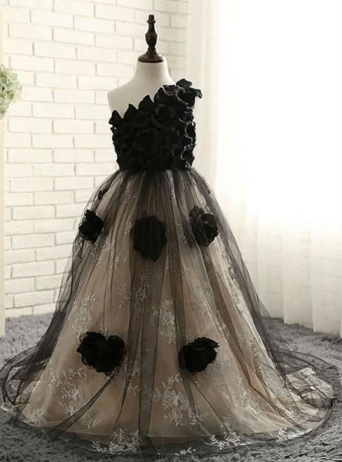Fairy Tale 2017 Flower Girl Dresses Black Champagne Ball Gown One-Shoulder Sleeveless Flower Appliques