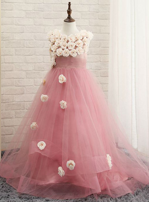 Fashionable 2017 Flower Girl Dresses Blushing Pink A-Line Beautiful Church Wedding Party Dresses