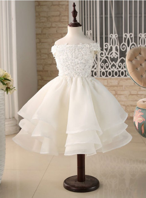 Popular Ball Gown Lace Applique Beading Cap Sleeves Flower Girl Dresses For Wedding Party