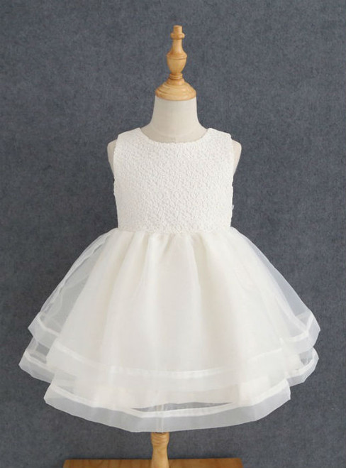 Tulle A Line Sleeves Knee Length Flower Girl Dresses  Simple Ivory Lace