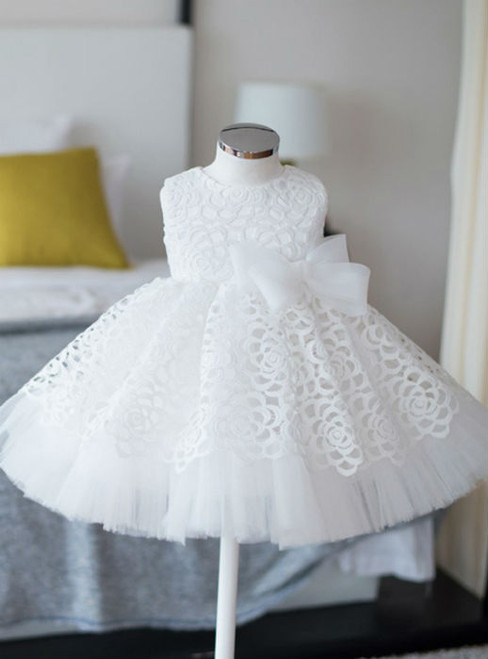 White Real Simple Ball Gown Sleeves Flower Girl Dresses