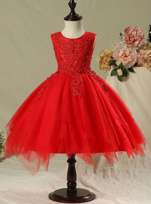Hot Sale 2017 Flower Girl Dresses Red Short Ball Gown Scoop Neck Flower Appliques Pearl