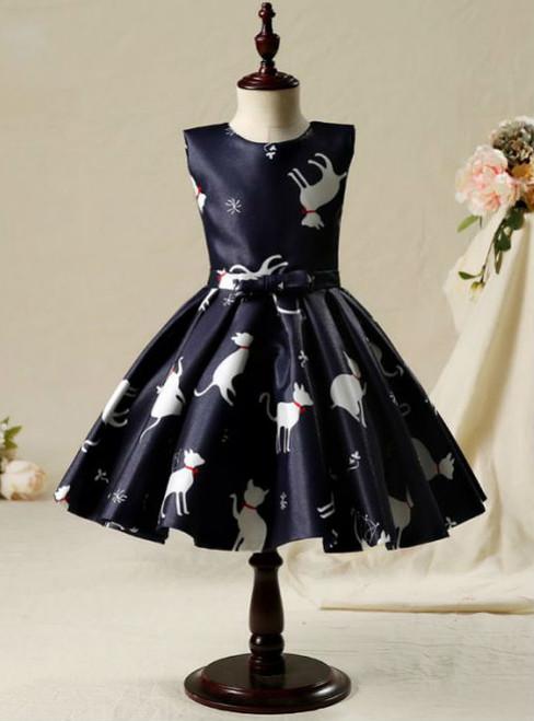 Attractive 2017 Flower Girl Dresses Black Short A-Line  Ruffles Scoop Neck Sleeveless Bow Sash