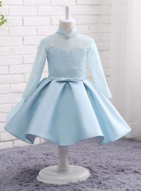 Fairy Tale Light Blue Lace Dress Satin Long Sleeves Flower Girls Dresses