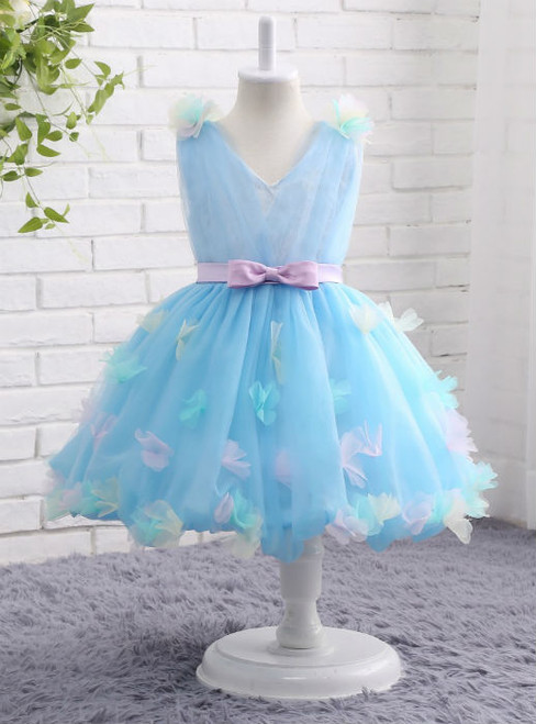 Fabulous Blue Flower Girls Dresses V-neck Ball Gown with Floral