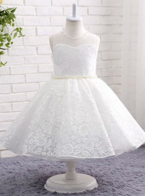 Dreamy White / Ivory Flower Girl Dresses O-neck Lace Ball Gown with Pearl