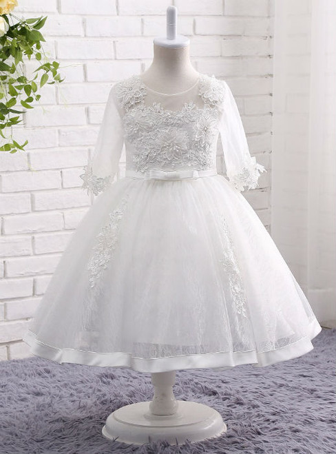 Delicate  White / Ivory Lace Flower Girl Dresses 3/4 Sleeves Ball Gown Applique Gown