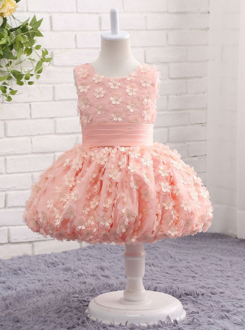 Trendy Pink Floral Flower Girl Dresses Ball Gowns