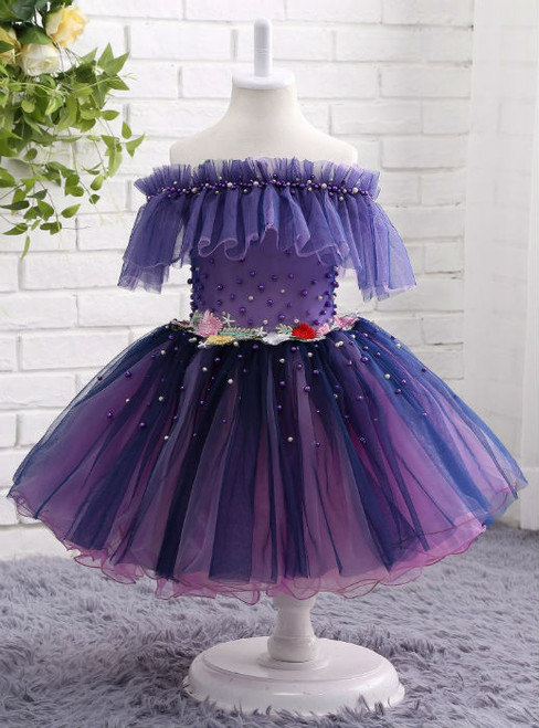 Queenly 3d Flower Applique Dress Grape Flower Girl Dresses Off the Shoulder