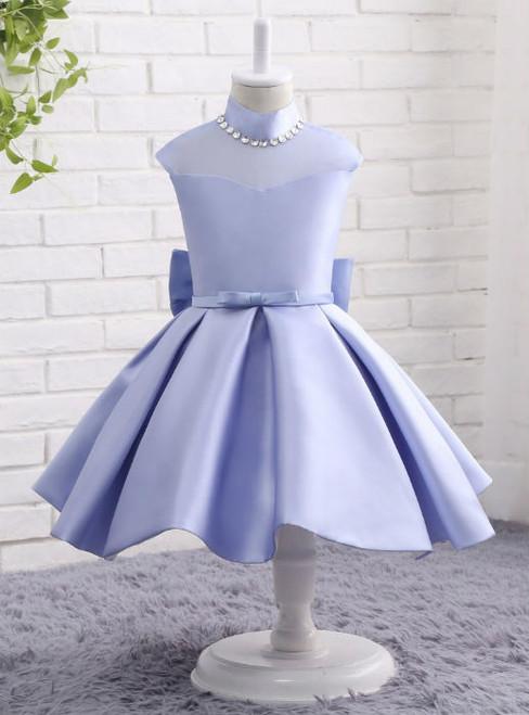 Princess Satin Flower Girls Dresses Cheap Girls Party Dress High Neck