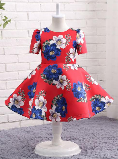 Elegance  Red Print  Flower Girl Dress Ball Gown