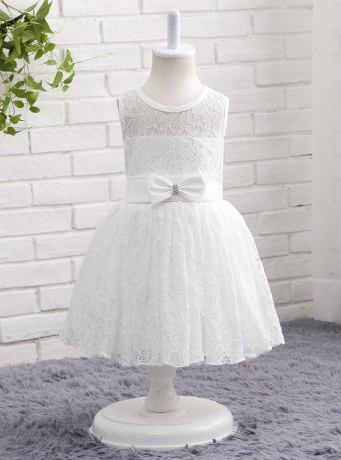 Advanced White Flower Girls Dresses 2017 Lace Communion Dress Girl with Bow