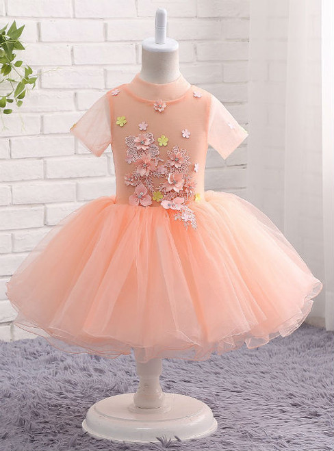 Amazing Sweet 2017 Pink Flower Girl Dress with Lace Applique Floral Ball Gown