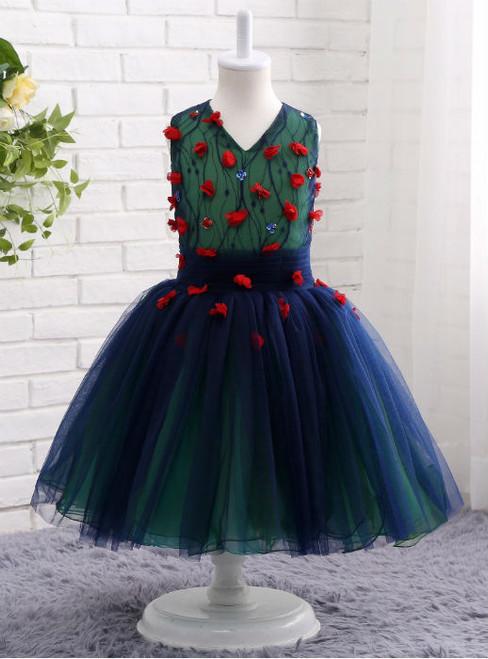 Cheap Navy Blue Tulle Red Floral Sleeveless Flower Girls Dresses