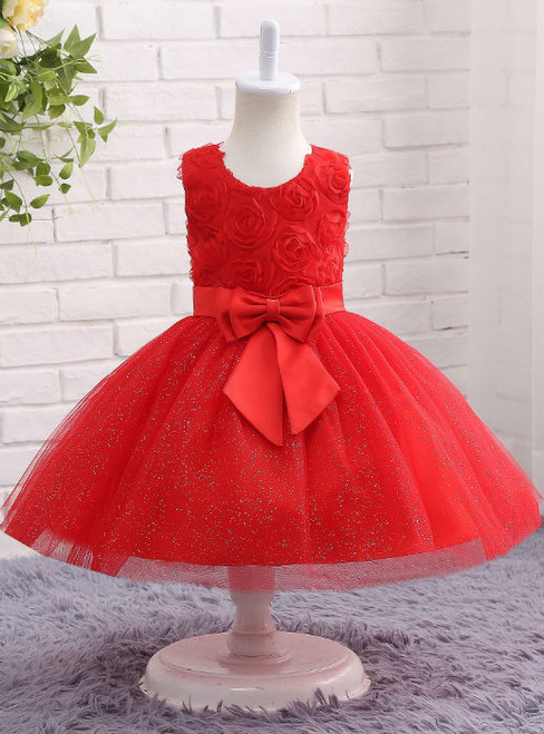 Sweet 2017 Red Flower Girl Dress with Bow Sequin Bling