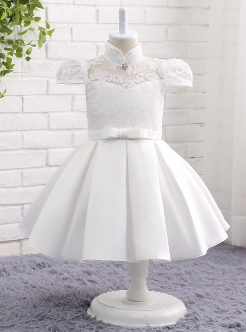 Latest 2017 Ball Gown Satin Lace High Neck Cap Sleeves Party Dresses Flower Girl Dress