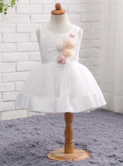 Romance White Wedding Party Formal Flower Girls Dress Sleeveless Children