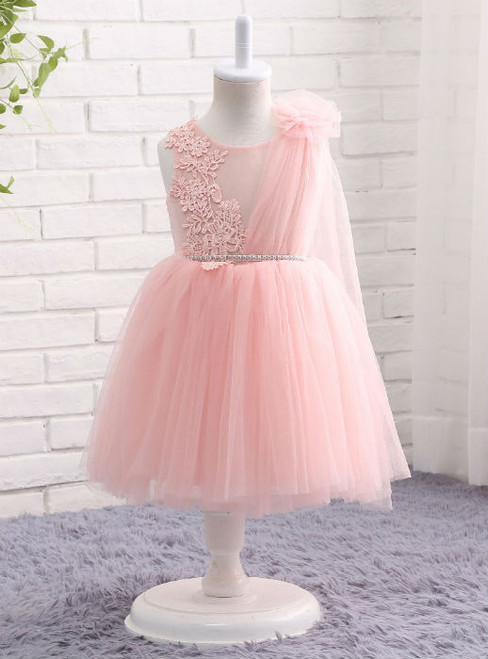 Glamorous Pink First  Dresses For Girls 2017 Brand Tulle Lace