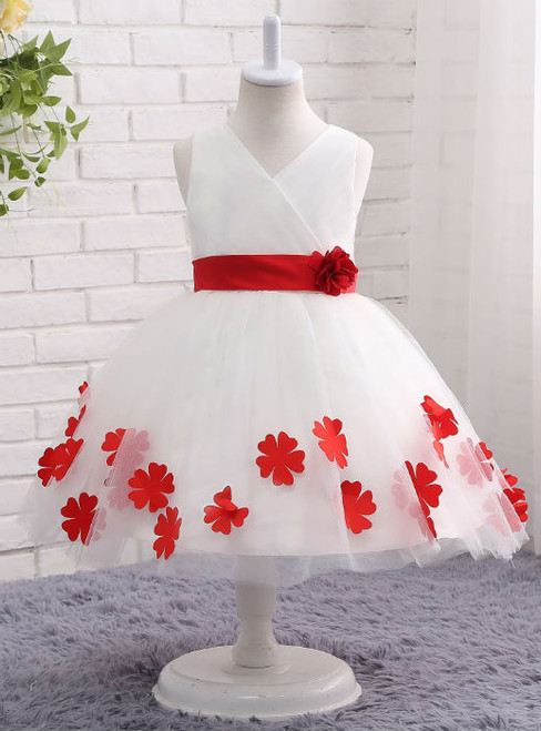 Fashion White Red Flower Girl Dress with Belt Floral V-neck Ball Gown