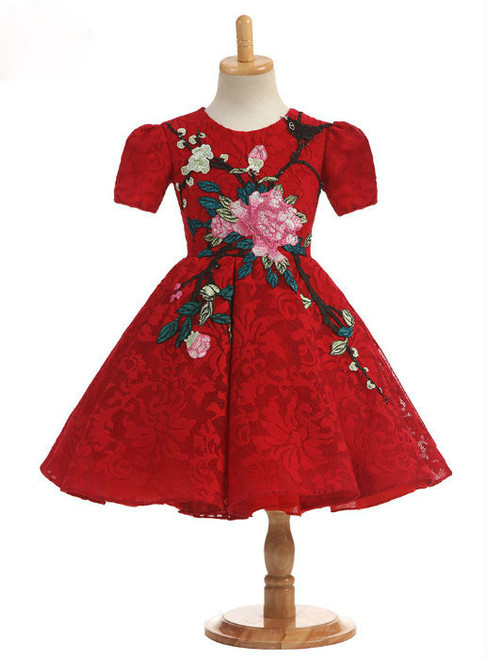Chic 2017 Real Photos Ball Gown Ruby Short Sleeve Flower Girl Dresses