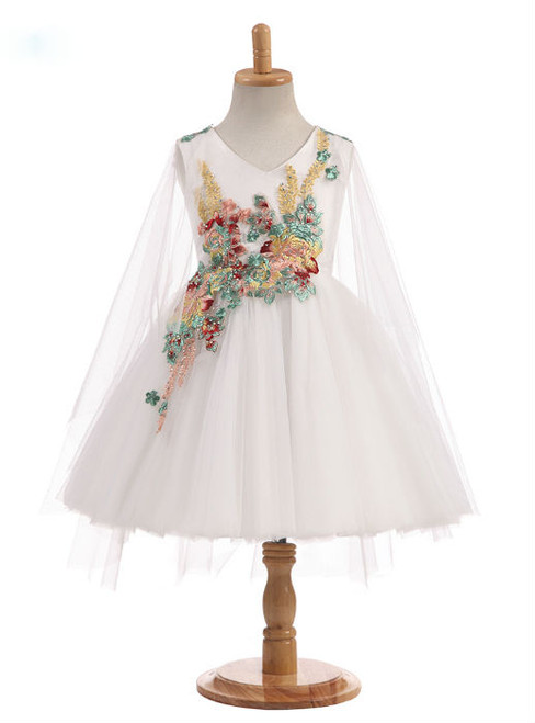 Graceful 2017 New Arrival Real Photos Ball Gown Knee Length V Neck Tulle Flower Girl Dresses