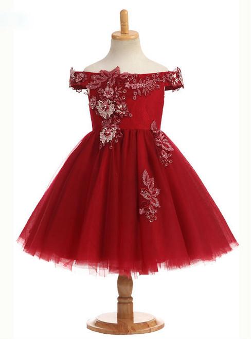 Elegant Hot Sale New Arrival 2017 Off The Shoulder A Line Real Photos Flower Girl Dresses