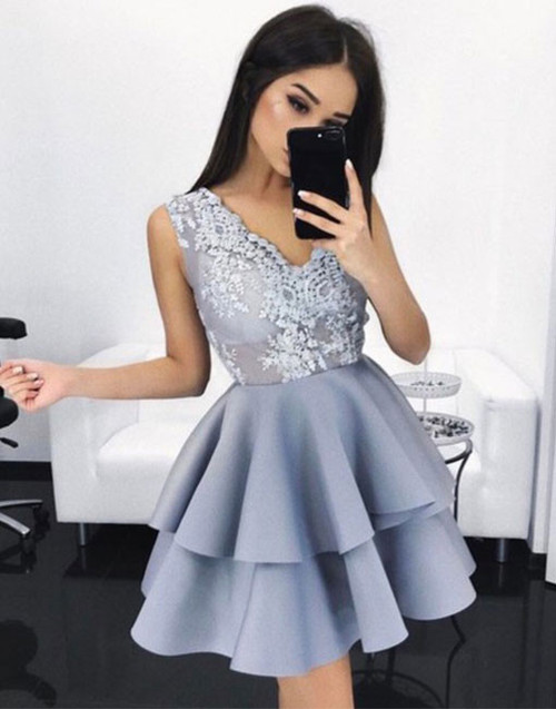 Gray Satin Tired Skirt Short Prom Dress
