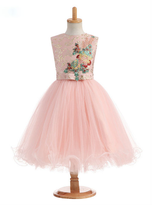 Stylish 2017 A-Line Flower Girl Dresses for Wedding Flowers Appliques Satin