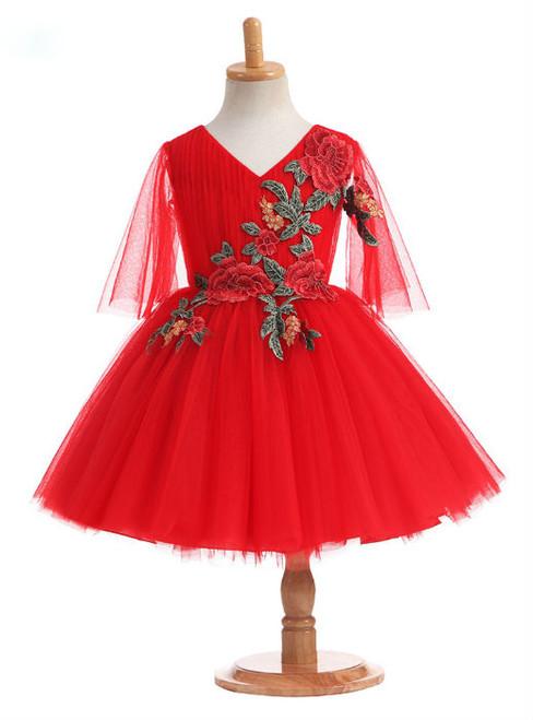 Stunning 2017 Ball Gown Ruby Flower Girl Dresses Tulle V Neck Flowers Appliques Tea Length